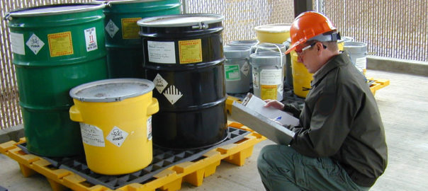 Hazardous waste container inspection