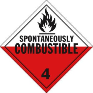 Dangerous Goods Classifcation 4- Flammable Solid, Spontaneously Combustible, Dangerous When Wet