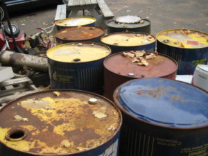 Open Hazardous Waste Containers